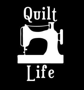 """Quilt Life"" Decal With Sewing Machine Silhouette"
