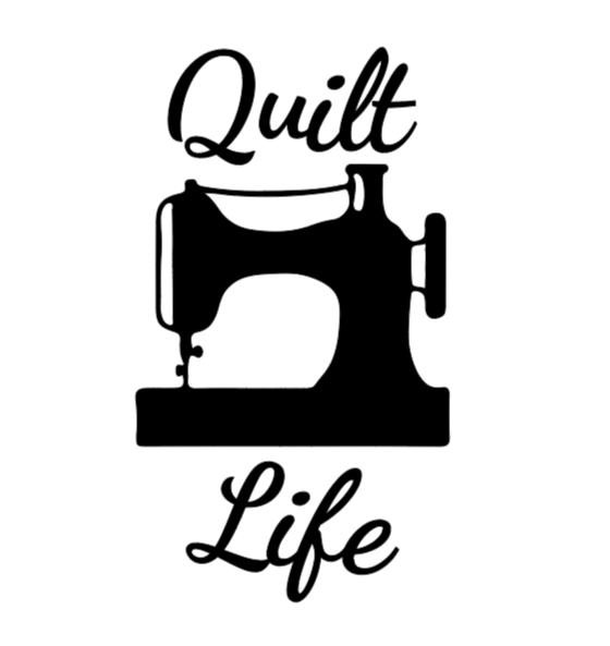 quilt life sewing machine white dancing script